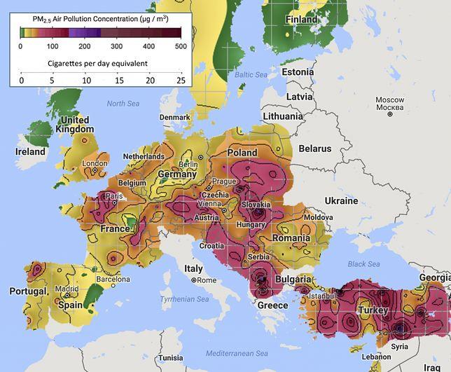 Smog zabija setki tysięcy Europejczyków rocznie