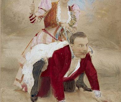 Mężczyzna na czworakac ujeżdzany przez kobietę z pejczem. XIX-wieczna grafika ze zbiorów prof. Kraffta-Ebinga.