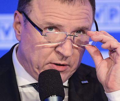 Prezes TVP Jacek Kurski podczas konferencji prasowej