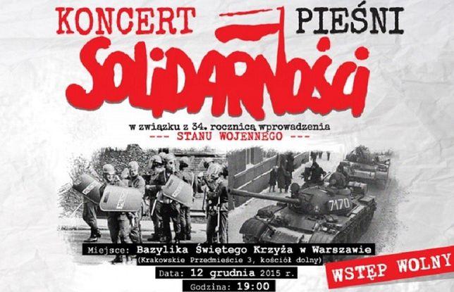 Za darmo: koncert w 34. rocznicę stanu wojennego