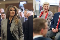 Agata Kornhauser-Duda w modnym kostiumie w kratkę. Podobny ma Melania Trump