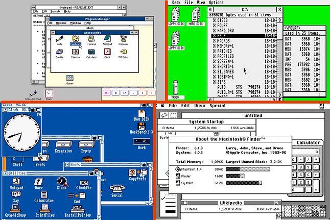 Lewy górny: Windows 3.0. Prawy górny: Atari TOS 1.62. Lewy dół: Amiga Workbench 1.3. Prawy dół: Mac OS 6