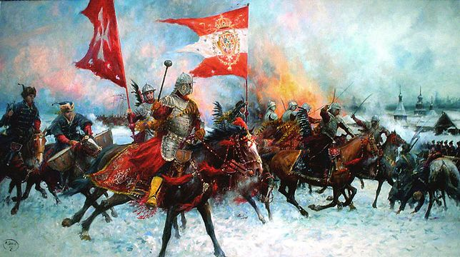 Bitwa pod Moskwą, 31 marca 1611 roku. Wojsko polskie rozbiło w niej kilkunastokrotnie liczniejszą armię Andrieja Zacharowicza Proszowieckiego, Wasyla Fiedorowicza Masalskiego i Artemija Izmaiłowa. Obraz Michała Szeiba.
