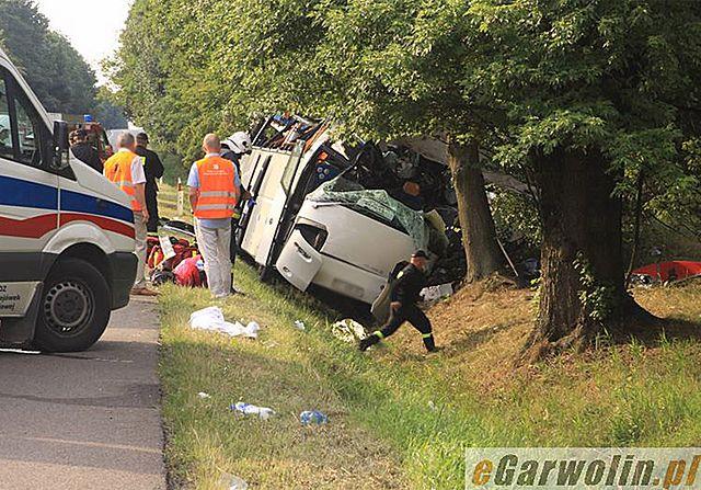 Tragiczny wypadek pod Garwolinem. Autobus wjechał do rowu