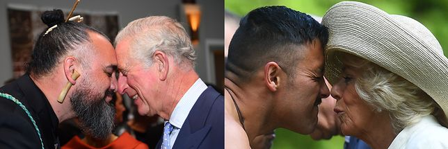 Książę Karol i księżna Camilla podczas tradycyjnego powitania Maorysów