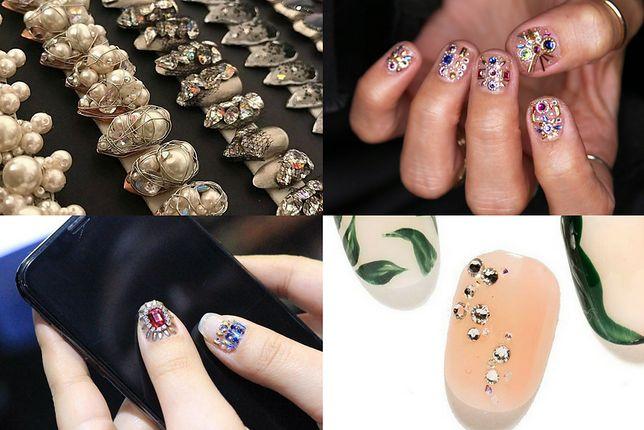 Cyrkonie na paznokciach to elegancka i wykwintna ozdoba (fot. cndworld, nail_unistella, the blonds)