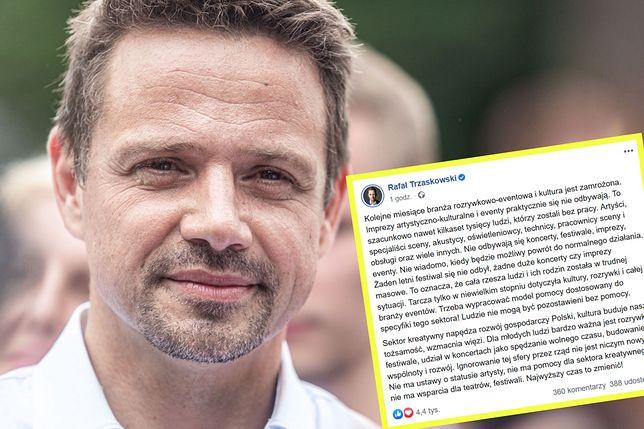 Rafał Trzaskowski zwrócił uwagę na branżę, która wciąż nie może ponieść się po wybuchu pandemii