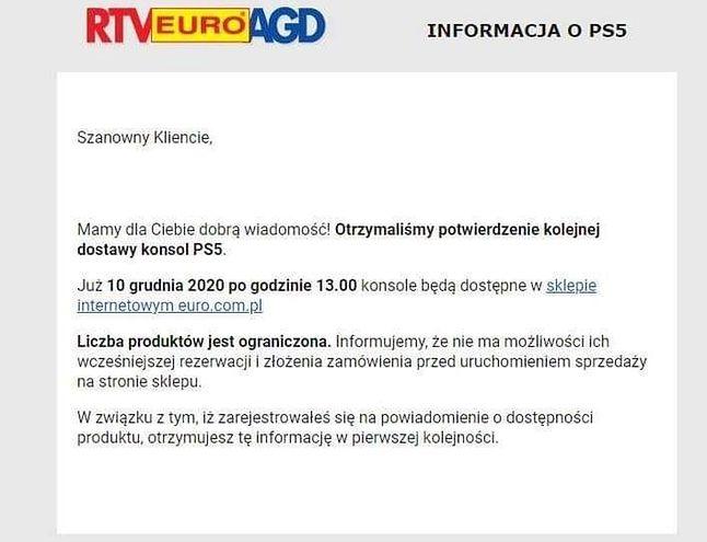 Informacja z RTV Euro AGD na temat dostępności PS5