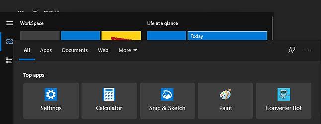 Wyszukiwarka Windows 10 na tle menu Start, fot. reddit/u/Jyo711