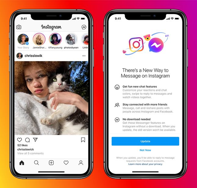 Propozycja aktualizacji Messengera i Instagrama, po której czaty obydwu aplikacji połączą się, fot. Facebook.