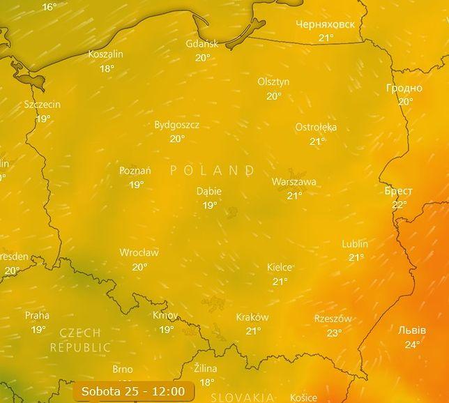 Tak będzie wyglądać temperatura w sobotę w południe