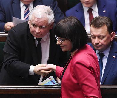 """Prezes PiS Jarosław Kaczyński i pełnomocniczka Komitetu """"Zatrzymaj Aborcję"""" Kaja Godek w Sejmie w styczniu tego roku"""