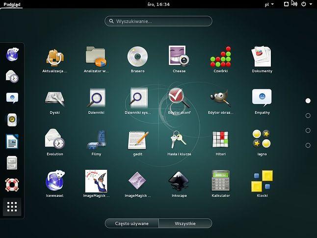 Charakterytyczny dla GNOME 3 wykaz aplikacji