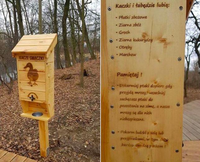 Wrocław. Koło kaczkomatu umieszczona jest często instrukcja, czym karmić wodne ptaki. Nie wolno im dawać chleba, bo to im szkodzi