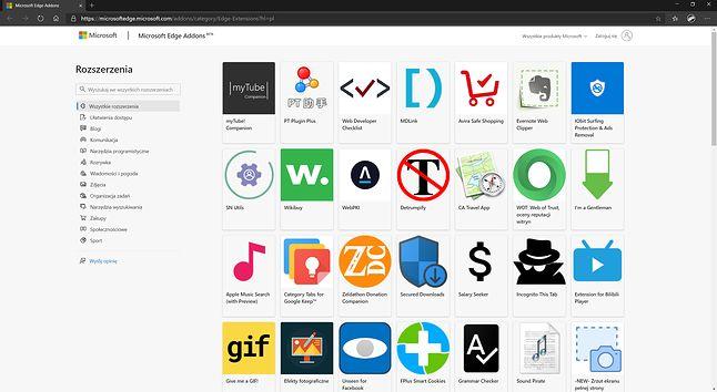 W sklepie Microsoftu z dodatkami do Edge'a jest już ponad 1200 rozszerzeń.