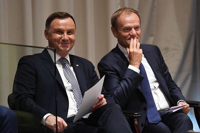 Prezydent Andrzej Duda i szef Rady Europejskiej Donald Tusk podczas posiedzenia Zgromadzenia Ogólnego ONZ. Wrzesień 2018 roku.