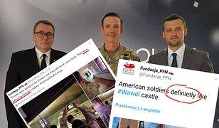 Cezary Jurkiewicz, prezes Polskiej Fundacji Narodowej (z lewej) i screeny z konta PFN na Twitterze.