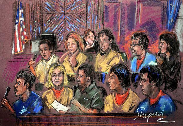 Grupa oskarżonych o bycie szpiegami Rosji - rysunek z rozprawy sądowej w 2010 r.