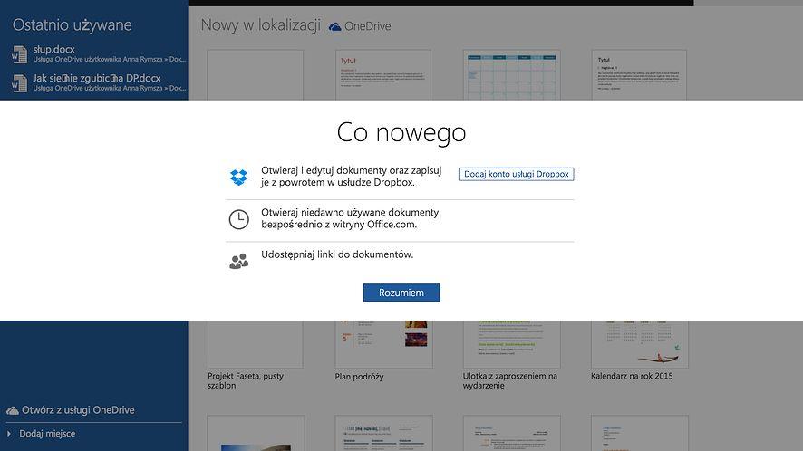 Office Online już łączy się z Dropboksem