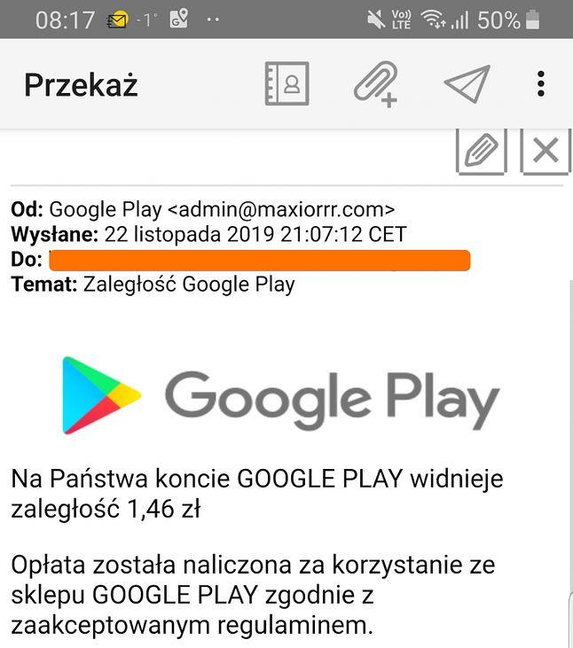 """Fałszywy e-mail wzywający do uregulowania """"zaległości Google Play"""", źródło: Niebezpiecznik."""