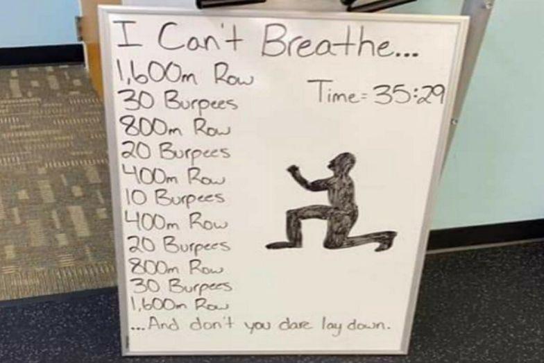 """Pracownicy siłowni drwią ze śmierci George'a Floyda. Oferują trening """"Nie mogę oddychać"""""""