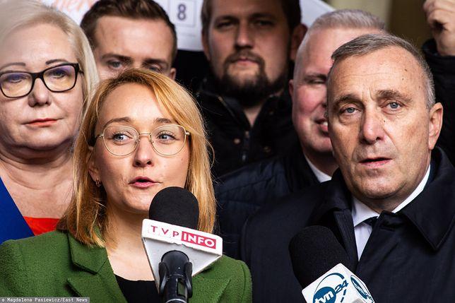 Małgorzata Tracz z Zielonych z Grzegorzem Schetyną z PO