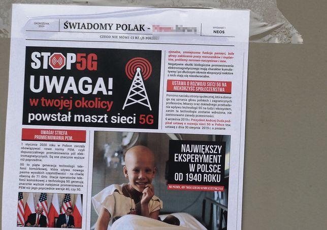 Gazetka kolportowana przez przeciwników 5G - z numerem konta do wpłat.