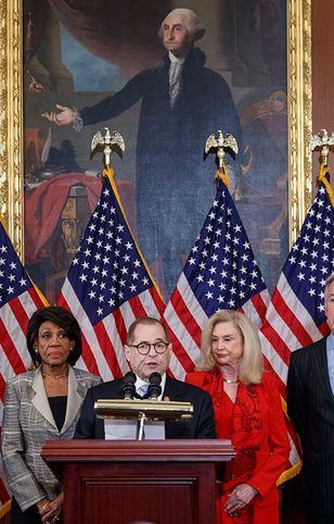 USA. Sformułowano zarzuty wobec prezydenta Donalda Trumpa (na zdj: konferencja prasowa Demokratów z Izby Reprezentantów)
