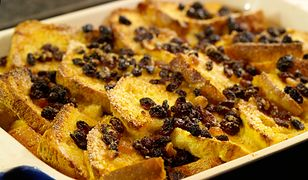 Delicious traditional Bread and Butter pudding with egg custard sugar and dried fruits.  Shallow dof.