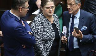 Krystyna Pawłowicz, Stanisław Piotrowicz i Arkadiusz Mularczyk w Sejmie, grudzień 2015 r.