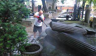 W sobotnie popołudnie pracownicy Muzeum Powstania Warszawskiego sprzątali grób rodziny genarała