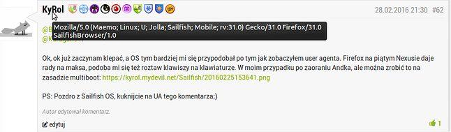 User Agent komentarza wysłanego z Sailfish OS 2.0