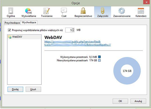Skonfigurowany serwis WebDAV z ownCloud