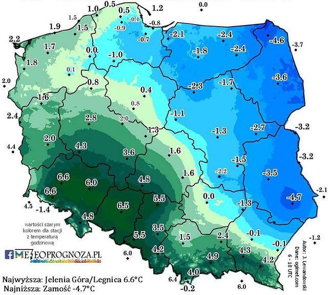 Starcie dwóch mas powietrza nad Polską. Ponad 11 stopni różnicy