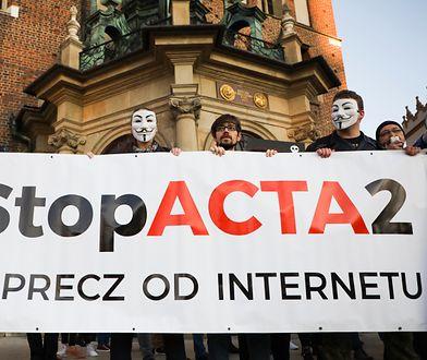 Protest w Krakowie przeciw dyrektywie o prawie autorskim