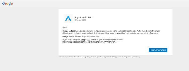 Dołączanie do programu testów beta Androida Auto