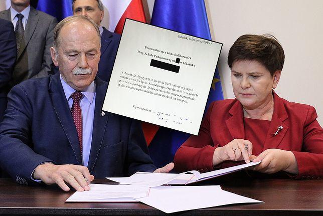 """Ryszard Proksa (""""Solidarność"""") i Beata Szydło w Centrum Dialogu Społecznego."""
