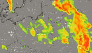 Burze nad Polską o godzinie 15 w piątek