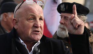 Piotr Rybak na demonstracji w Oświęcimiu
