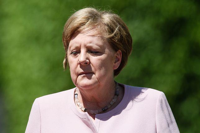 Kanclerz Niemiec Angela Merkel w czasie uroczystego powitania prezydenta Ukrainy w Berlinie