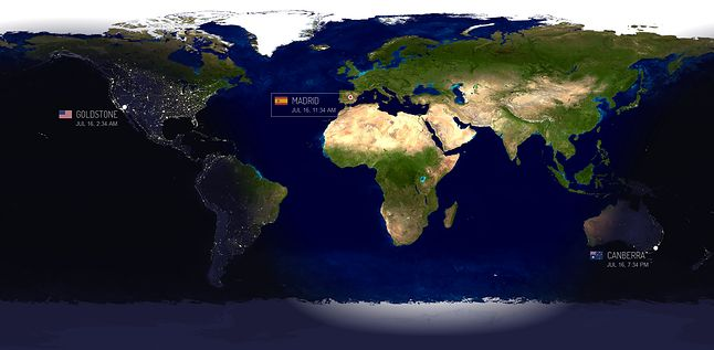 Rozmieszczenie anten systemu DSN. Fot. NASA
