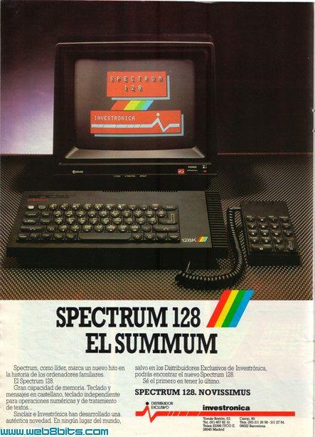 Hiszpańska reklama prasowa ZX Spectrum 128K.