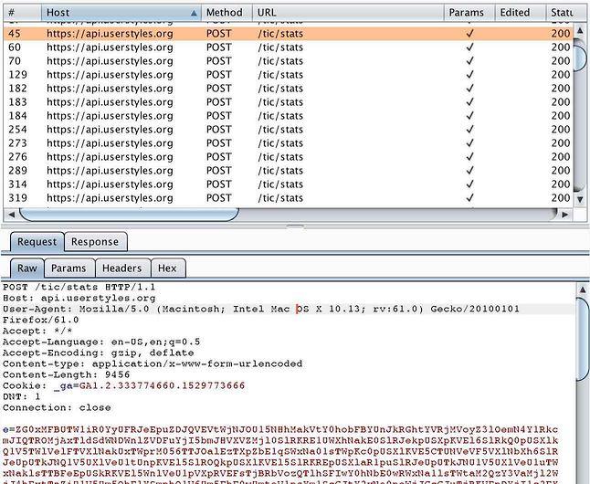 Podejrzane połączenia z API Stylish, źródło: Robert Heaton.