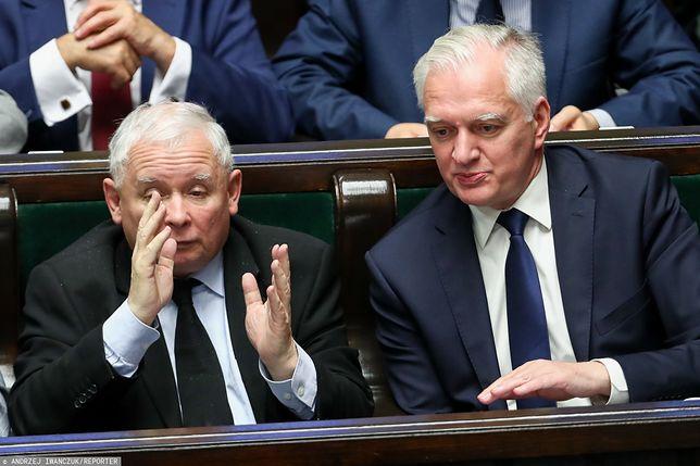 Jarosław Kaczyński i Jarosław Gowin w Sejmie.