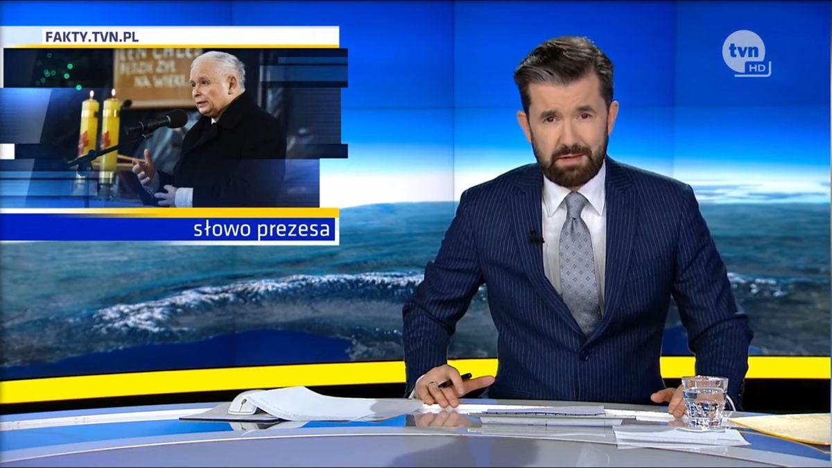 """Redakcja """"Faktów"""" TVN krytycznie oceniła wystąpienie prezesa PiS w kościele emitowane przez TVP."""