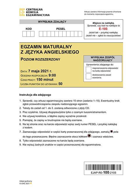 Matura 2021 - angielski rozszerzony. Arkusz CKE