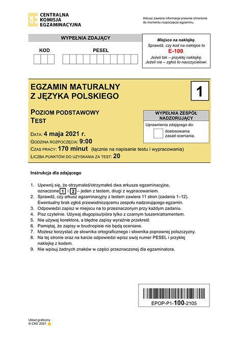 Matura 2021. Publikujemy arkusze CKE z języka polskiego