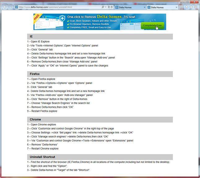 Na stronie z instrukcją usuwania jest reklama programu do usuwania. Padłem.