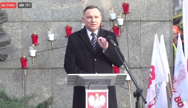 Andrzej Duda na obchodach 49. rocznicy Grudnia'70 w Szczecinie