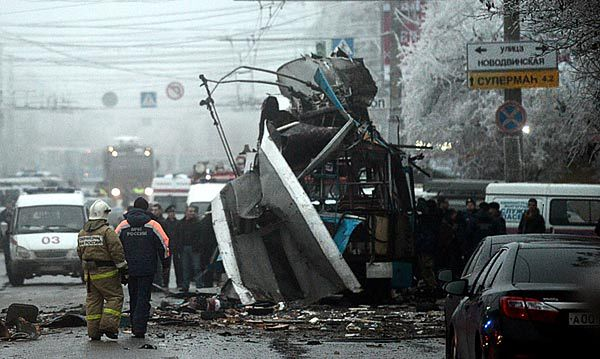 Szczątki zniszczonego trolejbusu